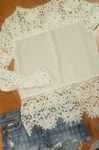Tops - **4for$10**Pure white crochet lace sleeved top